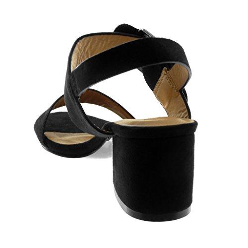 Angkorly Scarpe Moda Sandali Decollete con Tacco con Cinturino Alla Caviglia Donna Fibbia Tanga Tacco a Blocco Alto 5.5 cm Nero