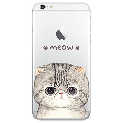iPhone 6 6S Handyhülle Schutzhülle Hülle Silikon Cover Case Ultra Dünn Slim Backcover TPU transparent Graue Katze