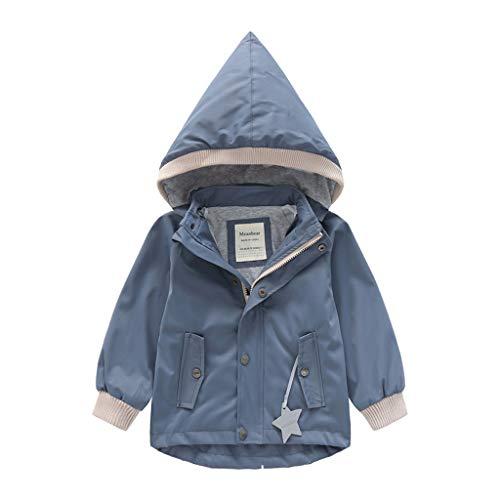 Deloito Kleinkind Baby Regenjacke Kinder Mädchen Windbreaker Jungen Winterjacke Cartoon Tier Kapuzenjacke Mantel Winddichte Outwear Outfits (Grau,150/6-7 T)