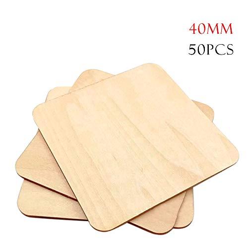 Weehey 50 Piezas 40 mm Cuadrados Esquinas Redondeadas Bricolaje Protección del Medio Ambiente Madera Capa de Madera Astillas