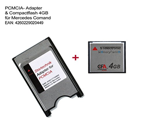 STElectronic PCMCIA Adapter mit CompactFlash Speicherkarte 4GB für Mercedes Bediensystem COMAND APS* - PCMCIA-Adapter APS Code 527 513 - mit CF Speicherkarte 4 Gigabyte von Kimtigo - 4 GB -