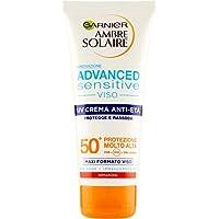 Garnier Ambre Solaire Crema Protezione Solare Viso Advanced Sensitive, per il Viso e per Pelli Chiare e Sensibili al Sole, Effetto Anti-età, IP50+, 100 ml, Confezione da 1