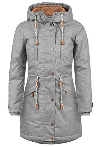BLEND SHE Dale Damen Parka lange Jacke Winter-Mantel mit Kapuze und Teddy-Futter aus hochwertiger Materialqualität, Größe:M, Farbe:Castlerock (75003)