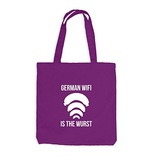 Jutebeutel - German WIFI is the Wurst - Fun Oktoberfest Magenta