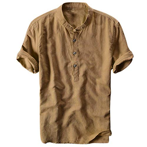 Henley-shirt (Celucke Oversize Leinenhemd Herren Kurzarm Grandad Ausschnitt, Männer Freizeithemd Henley Shirt Sommer Casual Hemden Leichte Atmungsaktives Bequem Leinen Sommerhemden (Gelb, XL))