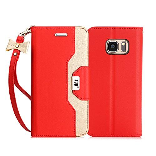 FYY Samsung Galaxy S7 Edge hülle,S7 Edge Hülle,Galaxy S7 Edge Hülle, Hochwertige Kunstleder Tasche mit Spiegel und Schleifen für Samsung Galaxy S7 Edge,Rot+Gold