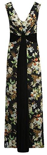 Chocolate Pickle ® Damen Plus Größe Grecian Boob Knot Blumendruck-lang Maxi (Grecian Kleid Plus Größe)