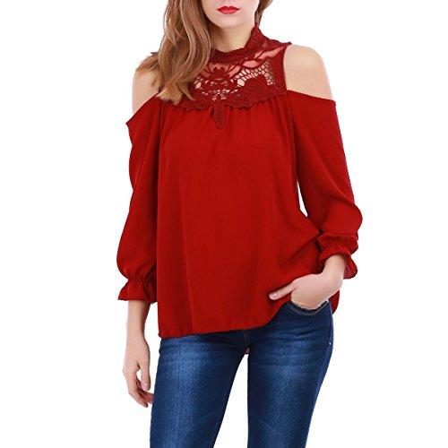 La Modeuse - Topmanches longues à épaules dénudées Rouge