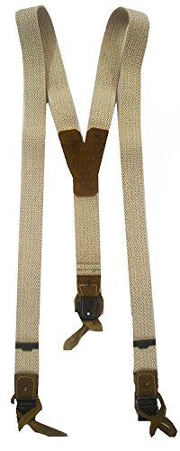 Hochwertige Trachten Hosenträger für Herren in beiger Leinenoptik 110cm