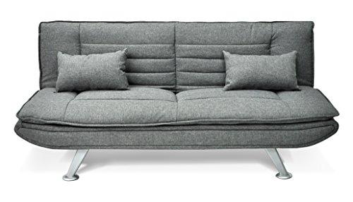 Divano letto in tessuto grigio - divanetto 3 posti mod. iris con cuscini