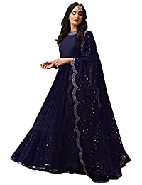 ce25466c261c Shree kuldevi Creation Women's Cotton Silk Semi-Stitched Gown (Free Size)  Blue3030