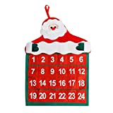 Eagerness Noël Suspendus Calendrier Lavable Décoratif Murale Père Noël pour Soirée Maison Vacance Fête...