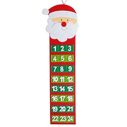 WDDqzf Dekoration Statuen Weihnachten Santa Claus Schneemann Hairy Man Kalender Advents-Countdown Bis Weihnachten Wandkalender Weihnachten Home Hanging Decoration (Schneemann), Santa Claus - Man Wie Einen Schneemann
