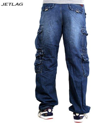 JET LAG Cargo-Hose Modell 007 Herren Jeans Pant - Denim Lite Navy inkl. F524 Camo Schlüsselband Demin Light Blue