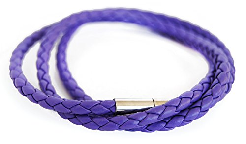 axy WICKELARMBAND SERIE 7 TWIC7! geflochtenes Lederarmband-mit Knotenverschluss-Leather Bracelet (Lila/ Purple)