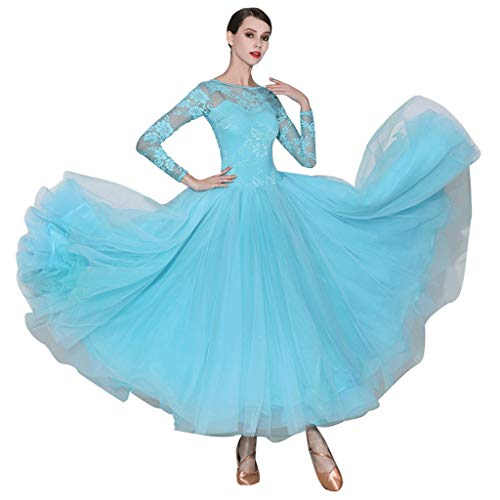 JTSYUXT Nationaler Standard Gesellschaftstanz-Kleid Waltz Performance Dance Wear Dance Kostüm Foxtrott Big Swing Rock Mit Brustpolster (Color : Blue, Size : XL) (Swing Dance Kostüm)