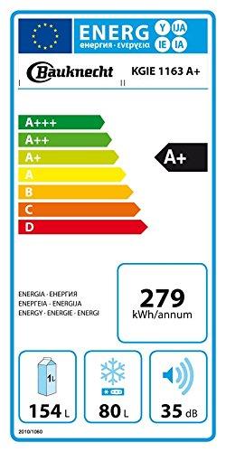 Bauknecht KGIE 1163 Kühl-Gefrier-Kombination/A+ / 157,6 cm Höhe / 279 kWh/Jahr / 154L Kühlteil / 80L Gefrierteil/Flüsterleise mit nur 35 dB/Nische 158 cm/weiß