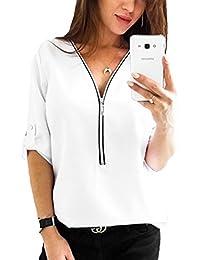 Junshan Damen Langarmshirt Elegant V-Ausschnitt Bluse Reißverschluss Shirt  Loose T-Shirt Oberteil Tunika fd128e79f2