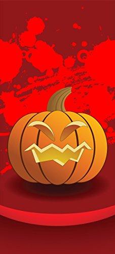 Türtapete Türposter Geschnitzter Halloween-Kürbis im Comic Stil - Größe 93 x 205 cm (Halloween Türdekoration)