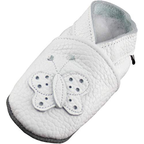 Lappade Mädchen Lederpuschen Hausschuhe Krabbelschuhe Baby Lauflernschuhe mit Ledersohle Gr.19-31 (19/20 EU, weiß)