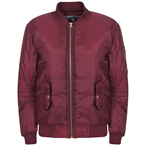 Nouvelles Filles Zip Bomber Jacket Vintage avec Poches pour Les 7-8, 9-10, 11-12, 13-14 et 15-16 Ans (11-12, Vin)