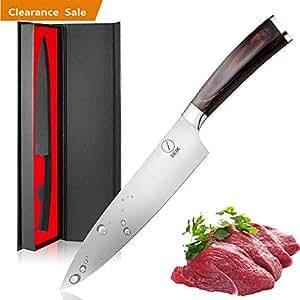 Deik Coltello Cucina, 20cm Coltello Chef con 1.4116 Importati in Acciaio Inox, Equilibrio di qualità Professionale e Super Sharp con Ergnonomic Classy Manico in Legno (Size-01)