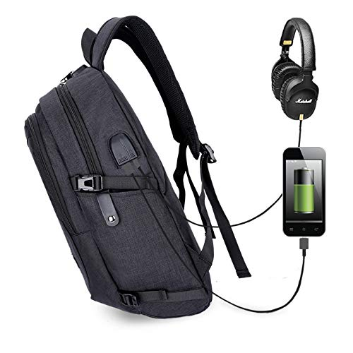 Minzhu Anti-Theft Backpack,Business Laptop Backpack with USB Charging Port and Earphone Port with Lock Slim Water Resistant Bag Daypack Fits 15.6 Inch Computer Notebook Rucksack for Work, College
