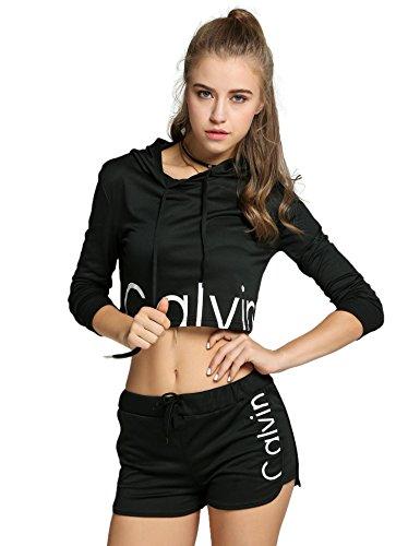 Befied Sport Jumpsuit Damen Sport Pullover Set Beiläufig 2 Stück High Waist Oberteil Kurze Hose Schwarz