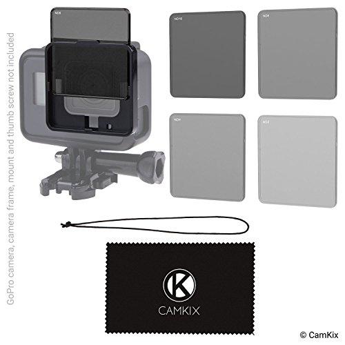 CamKix® kompatibles ND Filter-Pack für GoPro Hero 5-4 Neutraldichtefilter (ND2/ND4/ND8/ND16) - Perfekt für Luftaufnahmen mit der GoPro Karma/andere Drohnen - Nicht für Wasserdichte Gehäuse geeignet - Erweiterte Filter