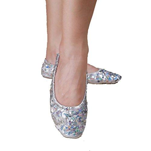 Wgwioo Bauch / Ballett Tanzschuhe Kostüm Geschenk Für Big Party Weihnachten Kleine Mädchen Professionelle Weiche Ferse Flat Soled Pack Von 2 . Silver . M (36-37) (Weihnachten Elf Dance Kostüme)