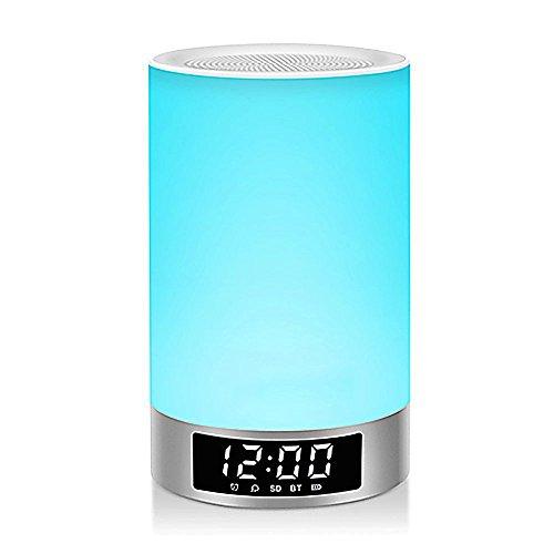 LAGUTE Wake-Up Light RGB Lichtwecker Bluetooth Lautsprecher Farbwechsel Lampe Nachttischlampe Touch Control Lampe RGB& LED Kinder Nachtlicht Modus, Musik Stimmungslicht Tischlampe, Zeituhr