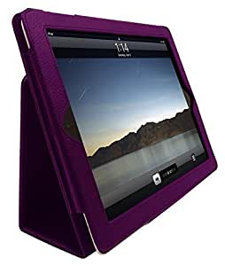 InventCase Apple iPad 2 / 3 / 4 Tablet (2nd, 3rd and 4th Generations - 9.7-Inch) Smart Multi-Functional PU Leather 2-Fold Case Cover with Sleep Wake Function - Purple