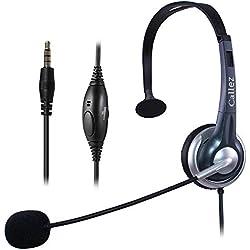 Callez Micro-Casque Téléphone Portable Mono avec Micro Anti-Bruit, Oreillette Filaire pour Skype iPhone Samsung Huawei Smartphones ipad ipod Mac PC Ordinateurs avec Jack 3,5 mm(C300E1)