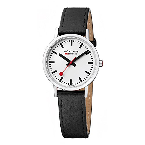 Mondaine Men's Classic 36 mm Watch with Stainless Steel polished Case white Dial and black leather strap with stitching Strap A660.30314.11SBO