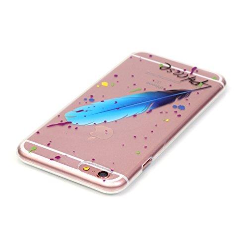 XiaoXiMi Coque Souple pour iPhone 5/5S Etui en Silicone Housse de Protection Coque Transparent Etui Flexible Lisse Housse Ultra Mince Poids Léger Couverture Anti Rayure Coquille Anti Choc avec Motif O Plume Bleue