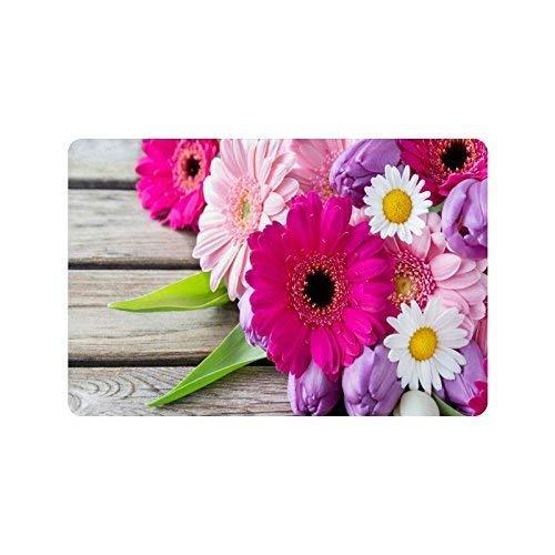 deyhfef Purple Pink White Flower Durable Home Indoor/OutdoorFloor Mat Doormats 23.6 x 15.7 inches(Small)