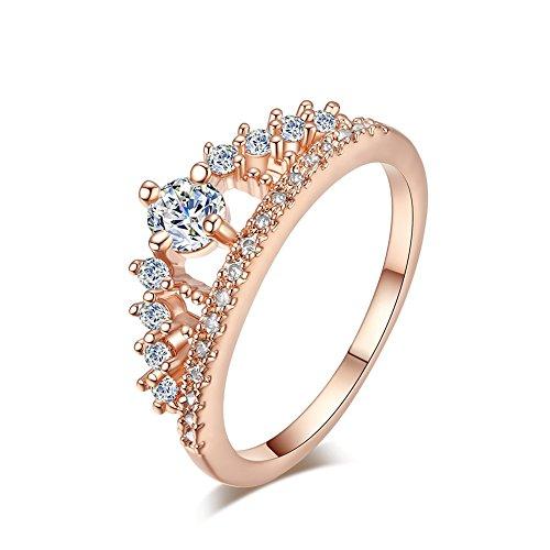 Yosemite Prinzessin Hochzeit Engagement Brautschmuck Krone Zirkonia CZ Finger Ring Schmuck, rose gold, US 8 (Ringe Gold Cz Frauen)
