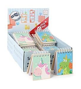 small foot company-Display 24 Unidades de cuadernillos Small Foot del Unicornio Luna y el Dragón Merlín, FSC-100% certificados para niños Juguetes, Multicolor by Legler 11041