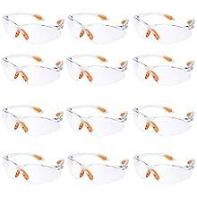 12 Pezzi Occhiali Protettivi da Lavoro Occhiali di Protezione Trasparenti Antiappannamento Antigraffio Occhiali Antinfortunistica di Sicurezza con Nasello Antiscivolo