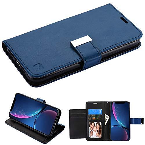 Mybat Schutzhülle/Clutch für Apple iPhone XR/iPhone 9 (3-lagig, mit extra Kartenfächern, Kunstleder) Blau/innen Schwarz (Handys-karte Virgin Mobile)