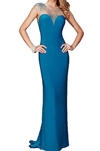 ivyd ressing Donna Pietre di alta qualità breve giromanica Rueckenfrei Custodia linea Party Festa Prom abito abito sera vestito Blau