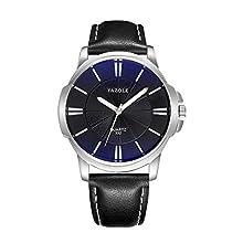 Orologio uomo VENURY YAZOLE 332 acciaio inossidabile resistente all'acqua meccanico al quarzo Quadrante Blu cinturino nero orologi da polso