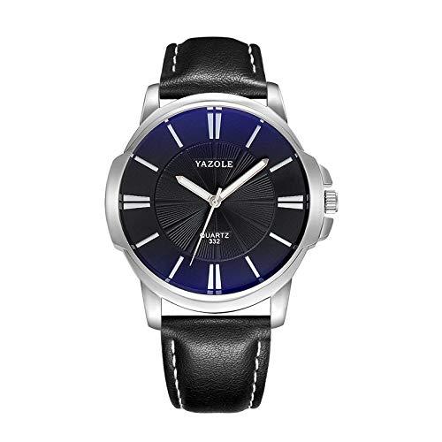 Herrenuhr VENURY YAZOLE 332 Edelstahl mechanisch Quarz Zifferblatt blau Armband schwarz Armbanduhr