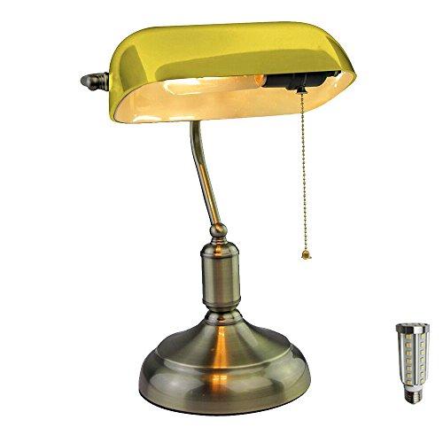 Glas Tisch Lampe (Vintage Schreib Tisch Leuchte Banker Glas Kanzlei Lampe Nacht Licht gelb im Set inkl. LED Leuchtmittel)