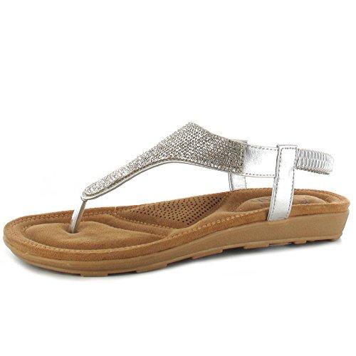 Ella Damen Sandalen, Silber - Silber - Größe: 40