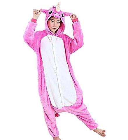 Kenmont Jumpsuit Tier Cartoon Einhorn Pyjama Overall Kostüm Sleepsuit Cosplay Animal Sleepwear für Kinder / Erwachsene (Small, (Rosa Einhorn-kostüm)