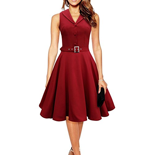 WintCO Damen Reverse Rockabilly Audrey Hepburn 50er 60er Faltenrock mit Gürtel Cocktail Kleid...