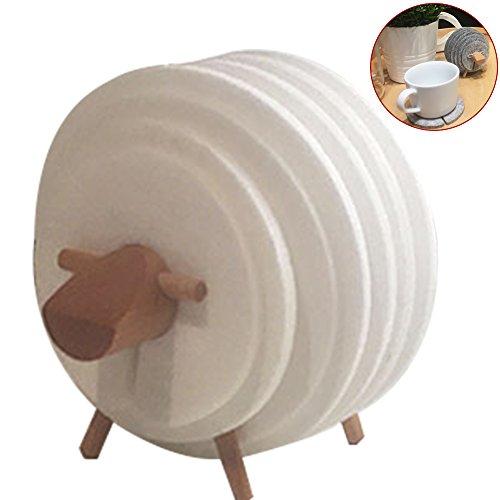 wingoffly Super Niedlicher DIY sheep-shaped Filz Tisch Untersetzer Tasse Matte Set weiß (Stück Kaffee-tisch-set 3)