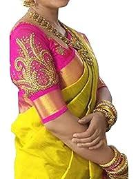 Esomic Cotton Saree (Nf-Yellow Satin_Yellow_Free Size)