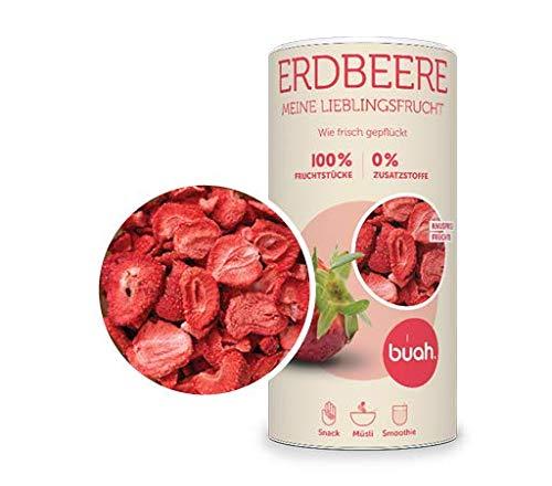 BUAH® Gefriergetrocknete Erdbeeren I Getrocknete Erdbeeren ohne Zucker I 100% Gefriergetrocknet Früchte (Vegan Glutenfrei Laktosefrei) Getrocknete Früchte Snacks in DE hergestellt (96g)